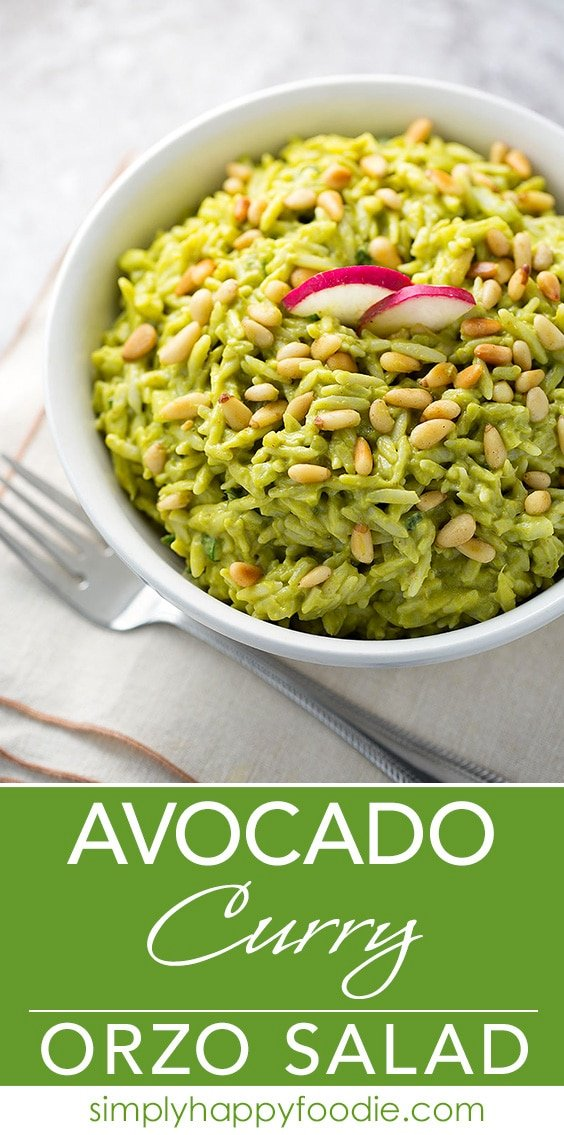 Avocado Curry Orzo Salad uses avocados and Greek yogurt for creaminess instead of mayo. Healthy and fresh tasting, with a spicy note from curry. simplyhappyfoodie.com
