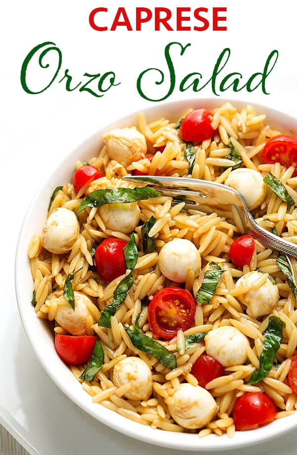 Caprese Orzo Salad is a light and refreshing pasta salad with tomatoes, basil, mozzarella and a light balsamic dressing. Enjoy this Caprese Orzo Pasta Salad as a main dish or a side dish salad. simplyhappyfoodie.com #pastasaladrecipe #orzo #capresesalad #capreseorzopastasalad #orzosalad
