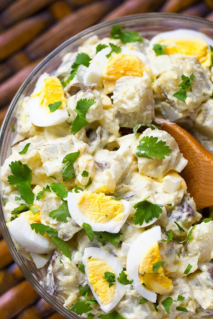Easy Instant Pot Potato Salad is tasty and simple. Potatoes and eggs cook together! simplyhappyfoodie.com