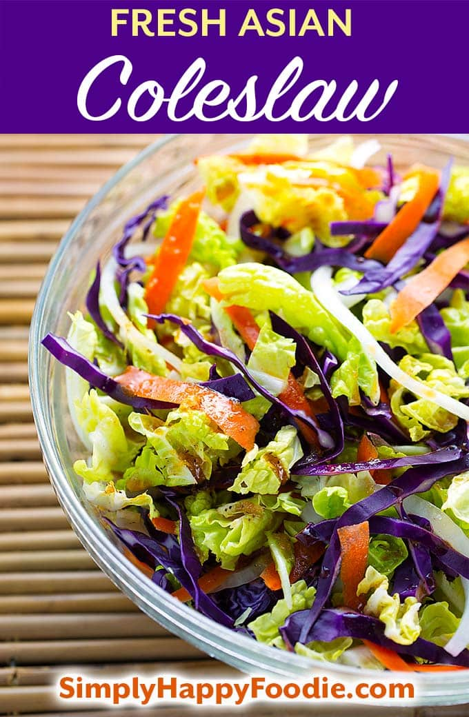 This Fresh Asian Slaw has lots of flavor from the yummy vinaigrette dressing. Try this flavorful Asian coleslaw as a tasty stand-alone salad, or top off your favorite slider or pulled pork sandwich. simplyhappyfoodie.com #coleslawrecipe #asianslaw