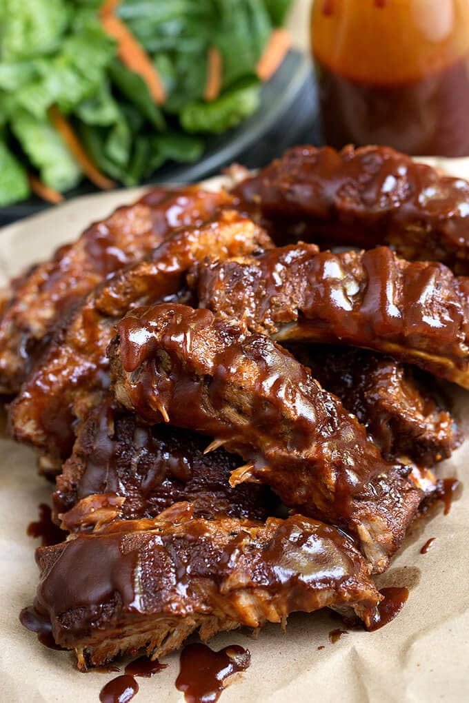 Instant Pot Baby Back Ribs on a white plate