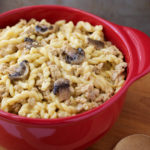 Instant Pot Cheeseburger in red bowl Pasta