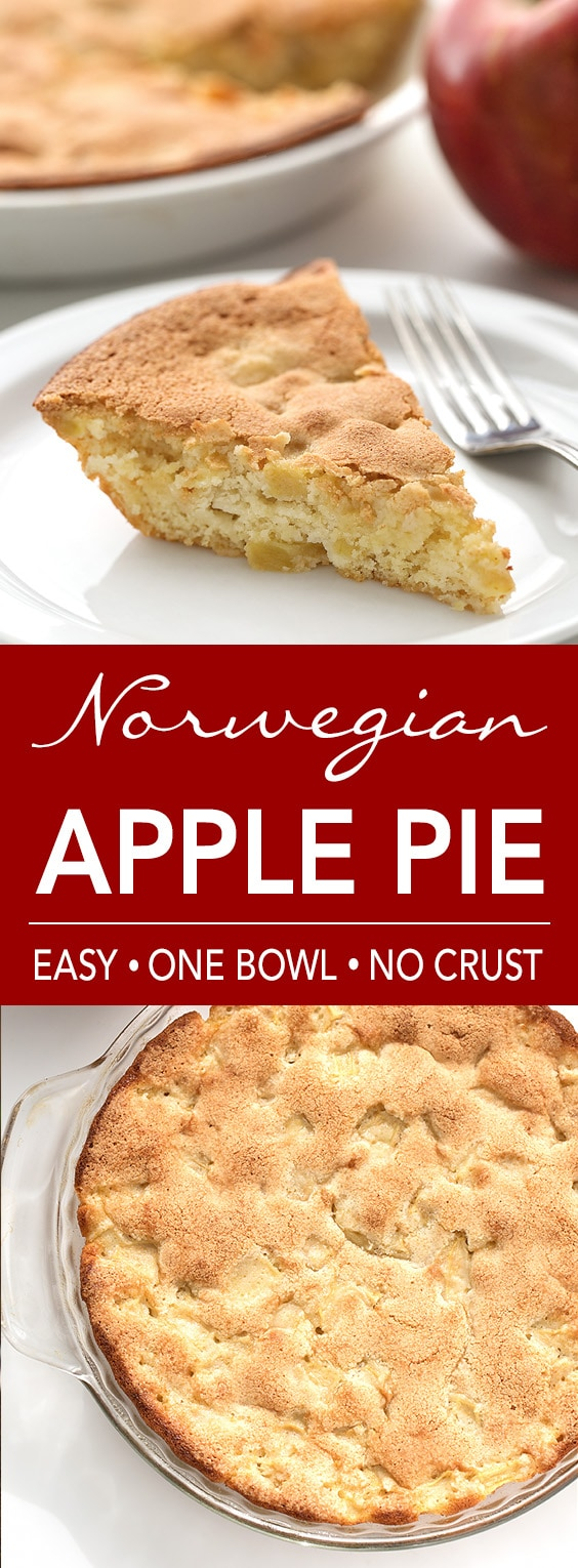 Norwegian Apple Pie is sweet and soft. Mix it in one bowl, no crust needed! simplehappyfoodie.com