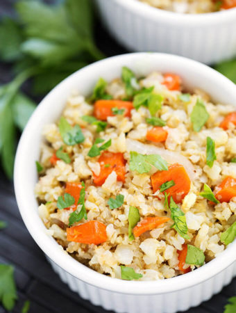 Roasted Cauliflower Rice with Carrots