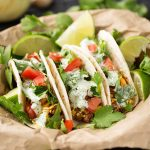 Turkey Street Tacos With Cilantro Cream Sauce are a great Taco Tuesday option. Healthy and tasty! simplyhappyfoodie.com #streettacos #groundturkey
