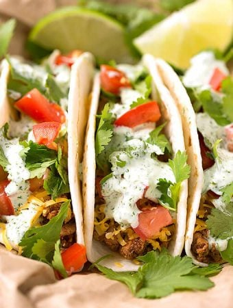 Turkey Street Tacos with Cilantro Cream Sauce