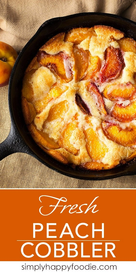 A fresh peach cobbler with a scoop of vanilla ice cream is good any time of the year. simplyhappyfoodie.com