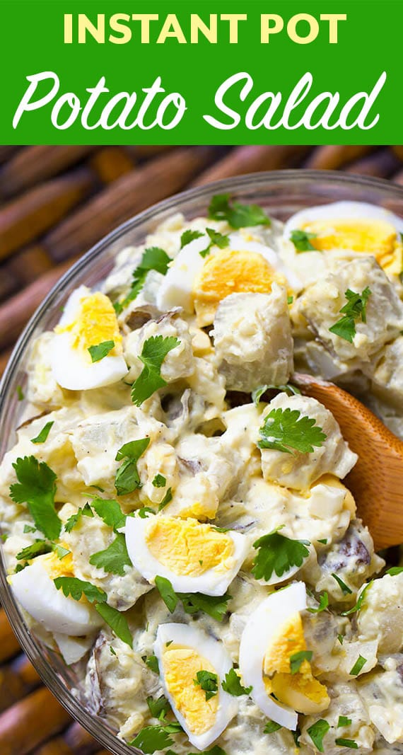 Easy Instant Pot Potato Salad is the best potato salad we have ever had! It's easy and fast to make. Pressure cooker potato salad is so good, you will keep going back to this delicious recipe! simplyhappyfoodie.com #instantpotpotatosalad #pressurecookerpotatosalad
