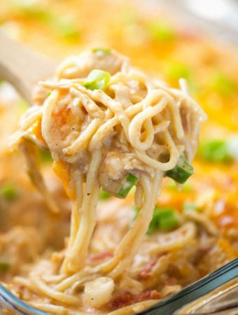 Creamy and Cheesy Baked Chicken Spaghetti