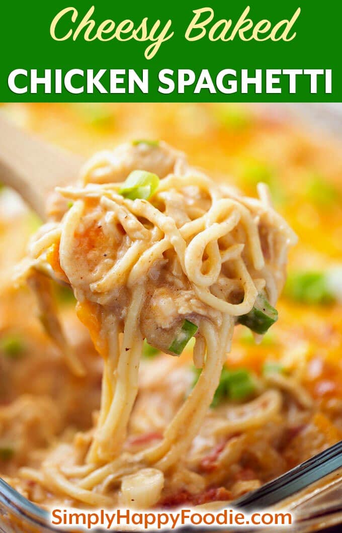 This Cheesy Baked Chicken Spaghetti recipe is amazing! It starts with a homemade cream sauce. With two kinds of cheese, chicken, seasonings, and a creamy base, this baked chicken spaghetti casserole will be comfort food for your family! Simplyhappyfoodie.com #chickenspaghetticasserole #bakedchickenspaghetti
