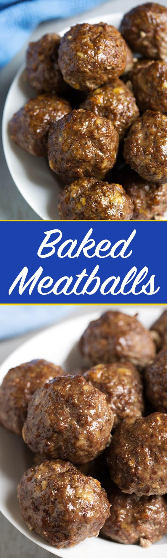 Easy Baked Meatballs have amazing flavor, and are ready in under an hour. We love them in spaghetti! simplyhappyfoodie.com #easymeatballs #bakedmeatballs #meatballs