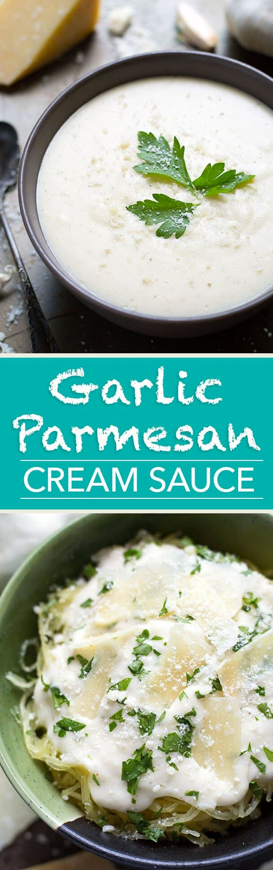 Garlic Parmesan Cream Sauce is a delicious and versatile sauce for pasta, spaghetti squash, rice, zoodles, vegetables. simplyhappyfoodie.com #zoodles #garlicparmesancreamsauce #creamsauce