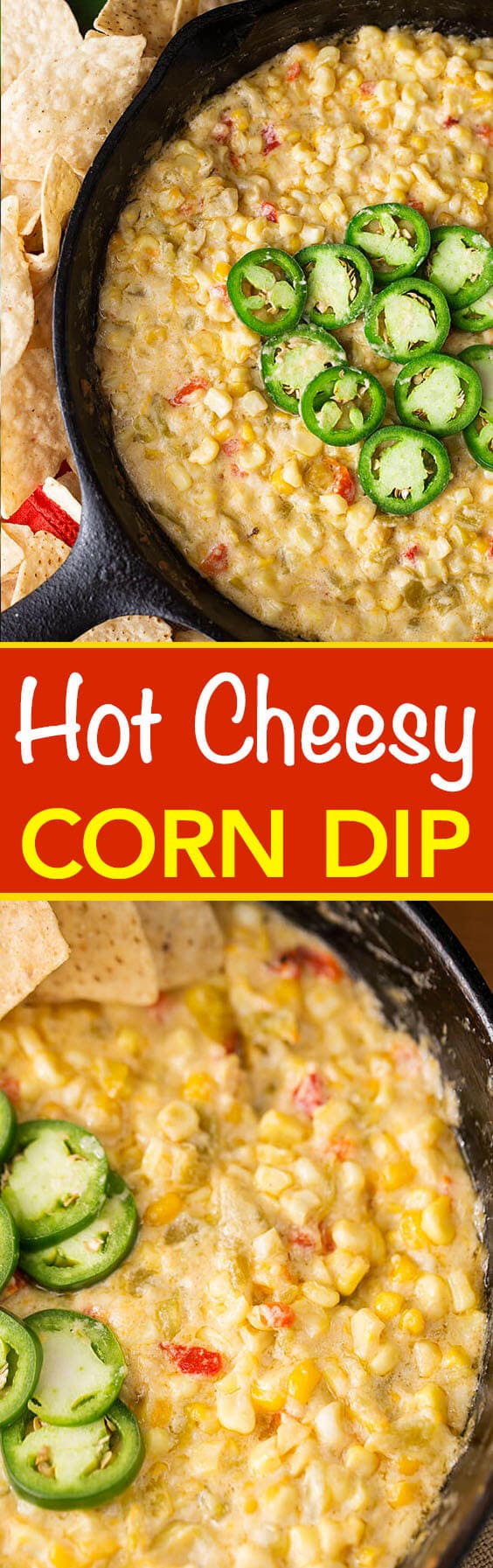 Hot Cheesy Corn Dip is a flavorful appetizer dip for game day and a party favorite. With corn, green chilis and cheese, we love this corn dip. simplyhappyfoodie.com #hotcheesycorndip #corndip #gameday #appetizer
