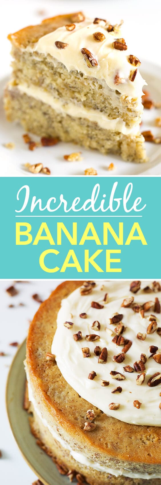 This Incredible Banana Cake is very moist and rich. Perfect for birthdays and special occasions, or anytime! simplyhappyfoodie.com