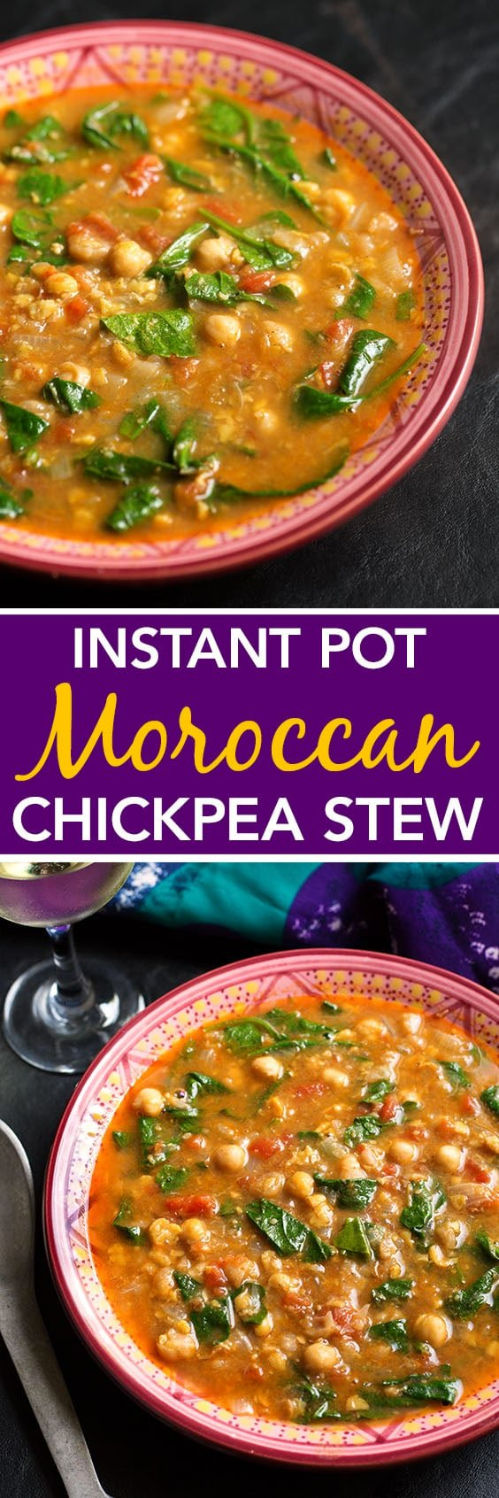Instant Pot Moroccan Chickpea Stew tastes amazing! Easy and inexpensive to make and so healthy! simplyhappyfoodie.com #instantpotrecipes #instantpot #instantpotchickpeas #instantpotchickpeastew