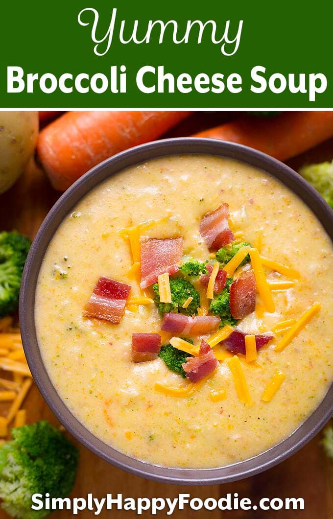 Loaded Broccoli Cheese Potato Soup is a rich delicious comfort food! Lots of flavor and cheesy goodness! A delicious broccoli cheese soup recipe. simplyhappyfoodie.com #broccolicheesepotatosoup #broccolicheesesoup