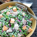 Pea Salad with Smoked Turkey is a tasty side or main dish salad. Simply delicious! simplyhappyfoodie.com
