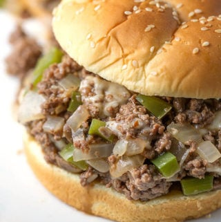 Philly Cheese Steak Sloppy Joes are a classic made simple! Comforting and delicious! simplyhappyfoodie.com