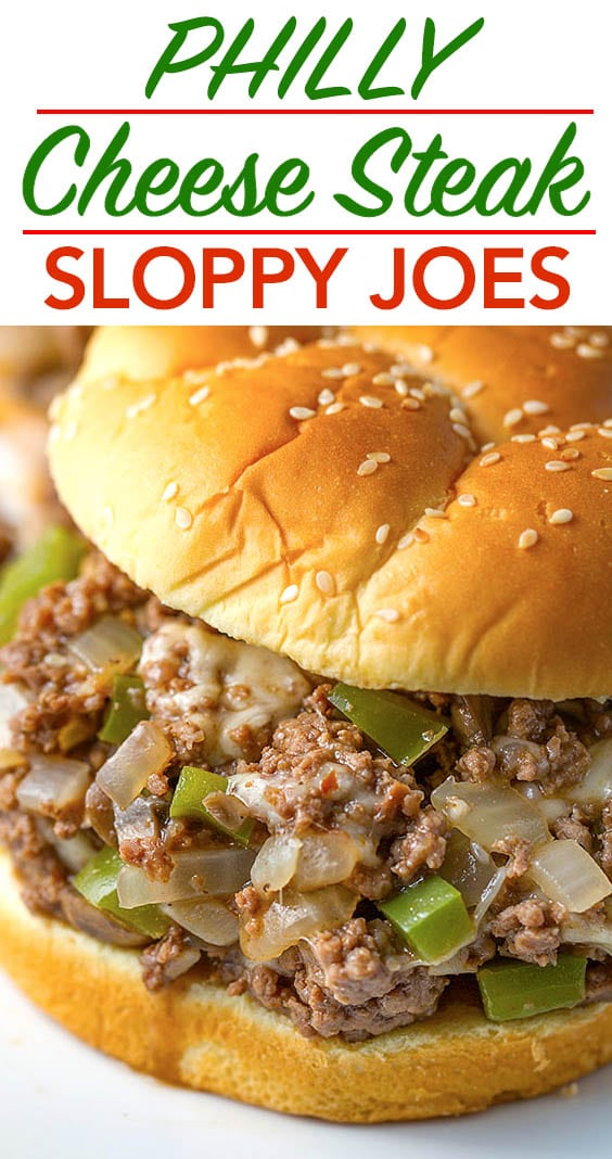 Philly Cheese Steak Sloppy Joes are a classic made simple! Cheesy and delicious! simplyhappyfoodie.com #sloppyjoes #phillycheesesteaksloppyjoes #sloppyjoesrecipe