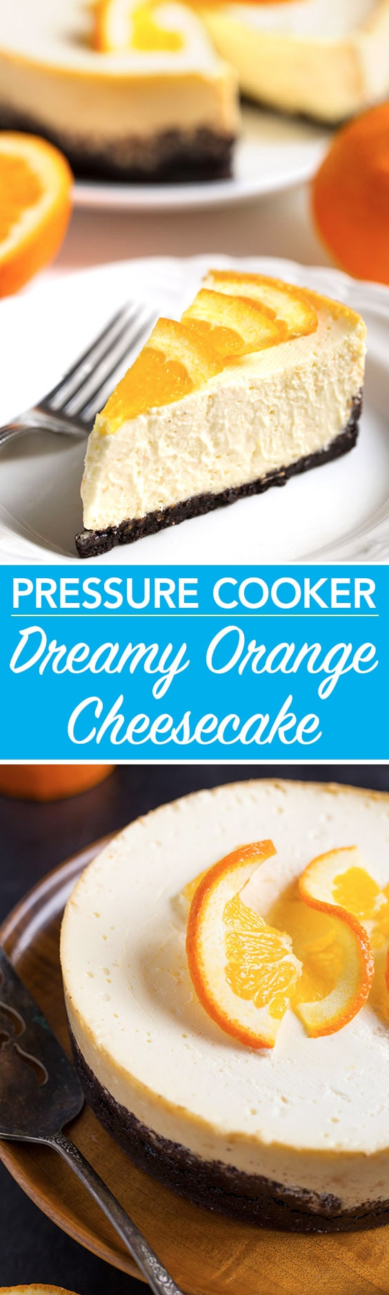 Pressure Cooker Dreamy Orange Cheesecake is the perfectly delicious, creamy orange cheesecake! Make it in your Instant Pot! simplyhappyfoodie.com