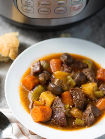 Sandy's Instant Pot Beef Stew is rich, delicious, and easy! No browning required! simplyhappyfoodie.com