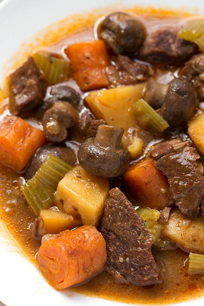 Sandy's Instant Pot Beef Stew is rich, delicious, and easy! No browning required! simplyhappyfoodie.com #instantpotbeefstew #instantpotrecipes