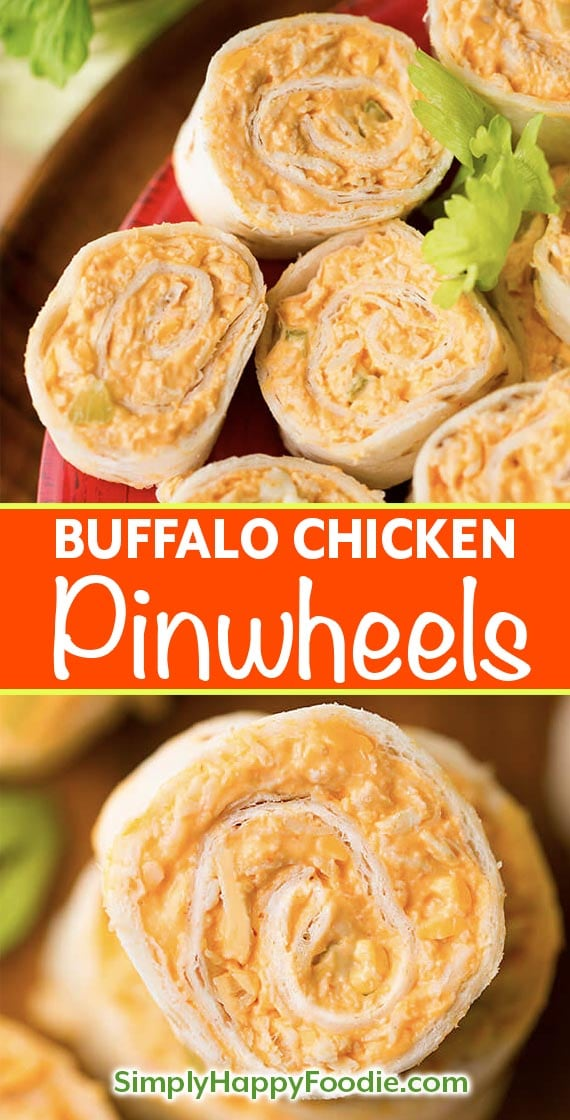 Buffalo Chicken Pinwheels have buffalo wings flavor in a neat tortilla pinwheel appetizer. Great party or game day appetizer! simplyhappyfoodie.com #gamedayfood #pinwheelrecipe #buffalochickenpinwheels