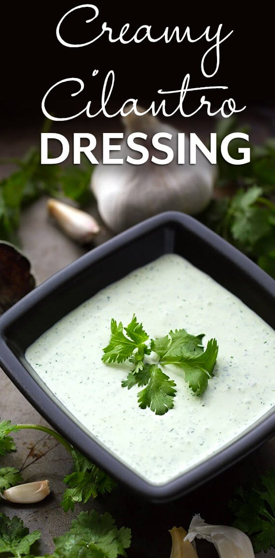 Creamy Cilantro Dressing is so delicious on salads, grain bowls, tacos, fries, and pasta. We love it on quinoa! It's more than just a salad dressing. simplyhappyfoodie.com #creamycilantrodressing #cilantrosaladdressing