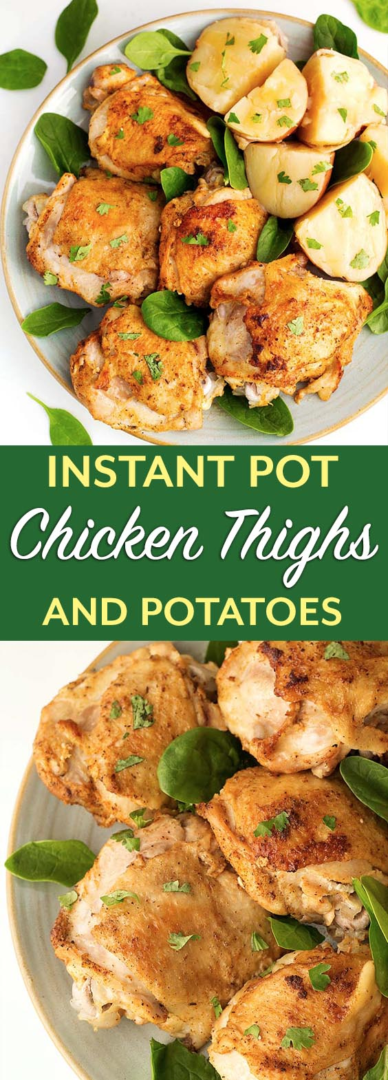 Instant Pot Chicken Thighs are cooked together with the Potatoes for a nice simple one pot meal. Pressure cooker chicken thighs and potatoes. simplyhappyfoodie.com #instantpotchicken #nstantpotchickenthighs