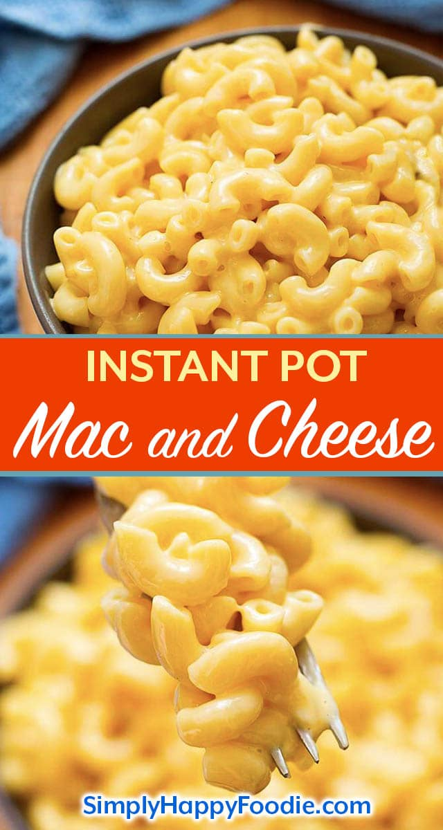 Instant Pot Mac and Cheese is a creamy delicious macaroni and cheese recipe made in your electric pressure cooker. No need to drain this pressure cooker Mac and cheese, it is so easy to make in one pot! Easy Instant Pot recipes by simplyhappyfoodie.com #pressurecookermacaroniandcheese #instantpotmacandcheese