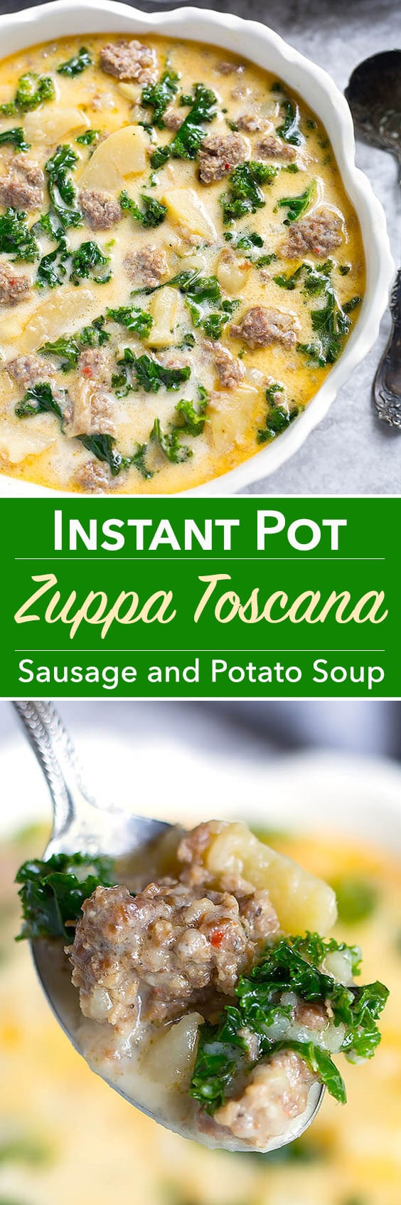 Instant Pot Zuppa Toscana (Sausage and Potato Soup) is hearty and full of rich flavor. One of my family's all-time favorites! Simple to make in your Instant Pot! simplyhappyfoodie.com #zuppatoscana #instantpotrecipes #instantpot #sausagepotatosoup #instantpotsoup