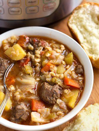 Instant Pot Beef Barley Vegetable Soup