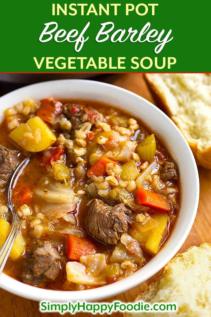 Instant Pot Beef Barley Vegetable Soup is a delicious comfort food from my Nana's recipe. This beef barley soup is a one-pot meal that can be on the table in a little over an hour. My pressure cooker beef barley vegetable soup recipe is one of the most popular recipes on my blog! Instant pot recipes by simplyhappyfoodie.com #instantpotbeefbarleysoup #pressurecookerbeefbarleysoup