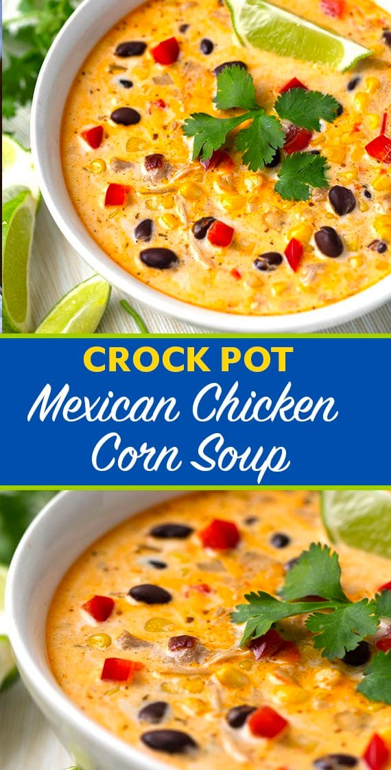 Crock Pot Mexican Corn Chicken Soup is a little spicy and creamy with chicken thighs and corn. This slow cooker corn soup is a comforting, delicious one pot meal. simplyhappyfoodie.com #crockpotsoup #crockpotmexicancornchickensoup #crockpotcornsoup #cornchowder #slowcookersoup