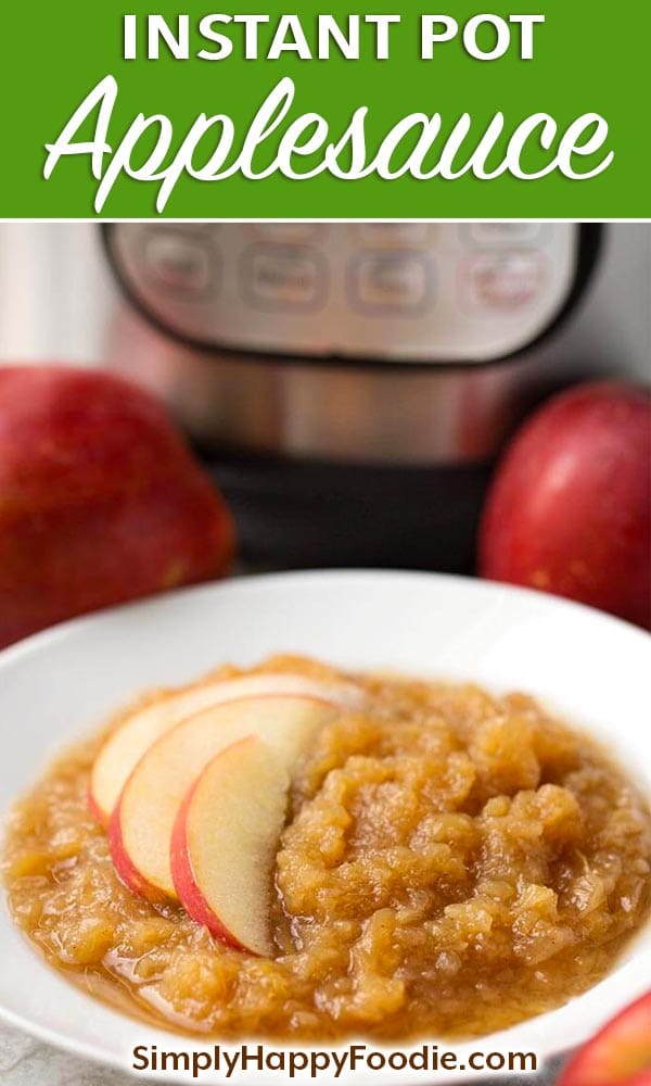 Instant Pot Applesauce is healthy, fast, easy to make, and delicious! make this pressure cooker applesauce in minutes!vsimplyhappyfoodie.com #instantpotrecipes #instantpotapplesauce #instantpot instant pot applesauce, pressure cooker applesauce