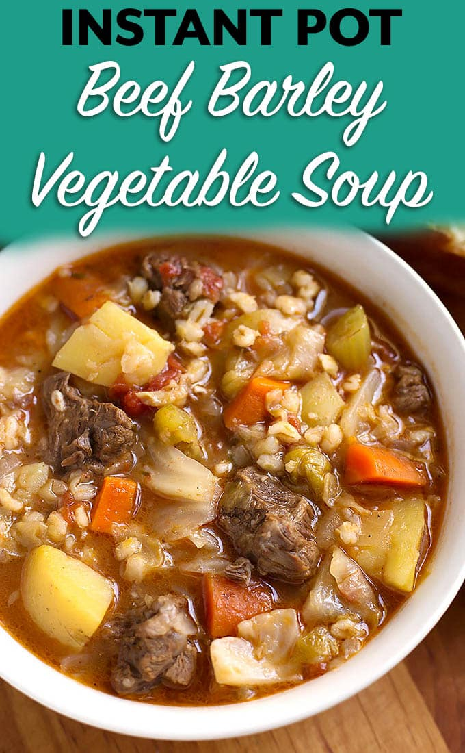 Instant Pot Beef Barley Vegetable Soup is Nana's recipe and tastes like home. Hearty and comforting, with lots of flavor! simplyhappyfoodie.com #beefbarleysoup #instantpotrecipes #instantpotsoup #instantpotbeefbarleysoup #pressurecookerbeefbarleysoup
