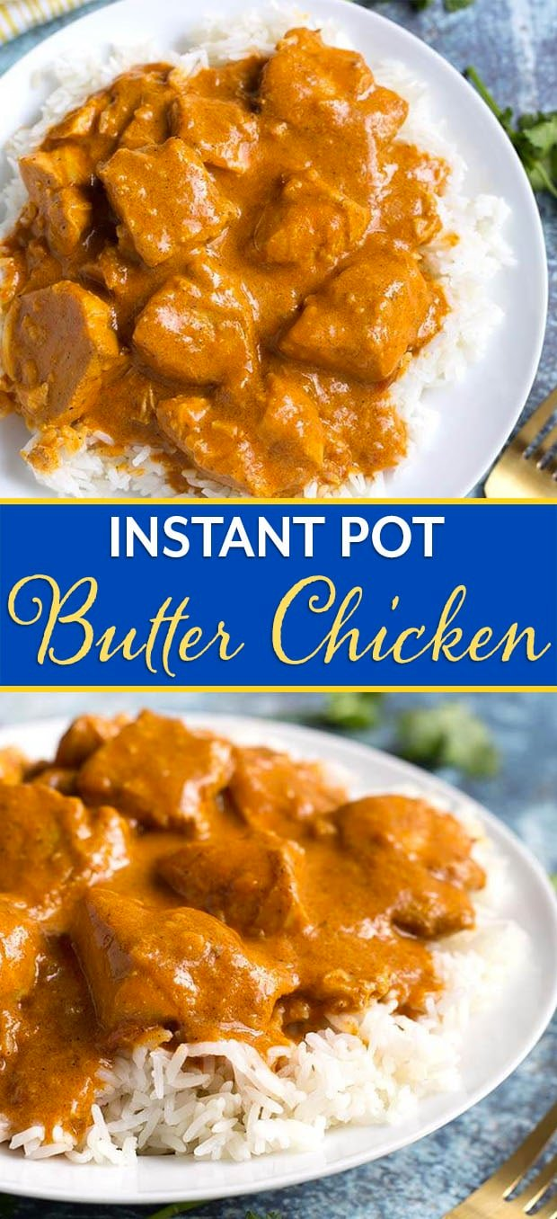 Instant Pot Butter Chicken is rich and super flavorful. We like making this tasty and easy pressure cooker Butter Chicken, and even our picky eaters like it! simplyhappyfoodie.com #instantpotbutterchicken #pressurecookerbutterchicken