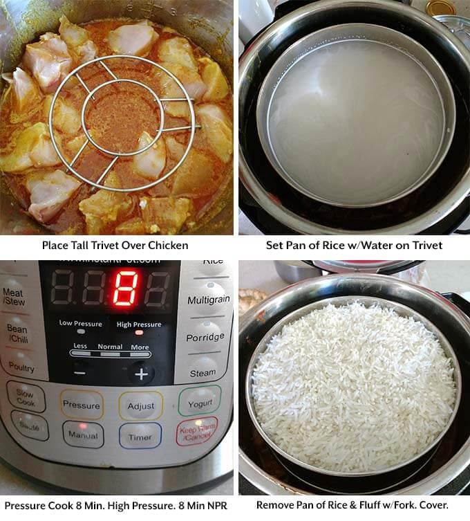 Four process pictures showing placement of trivet over chicken, setting pan on trivet, setting time on pressure cooker and removing the pan of rice from pressure cooker