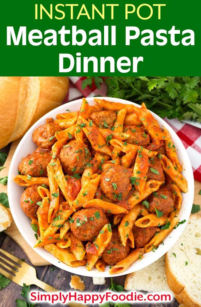 This easy and tasty Instant Pot Meatball Pasta Dinner can be on the table in under an hour! Using frozen, pre-cooked meatballs, and a jarred pasta sauce, you can let the Instant Pot do all of the work for a pressure cooker meatball pasta dinner! Instant Pot recipes by simplyhappyfoodie.com #instantpotmeatballspasta #pressurecookermeatballpasta