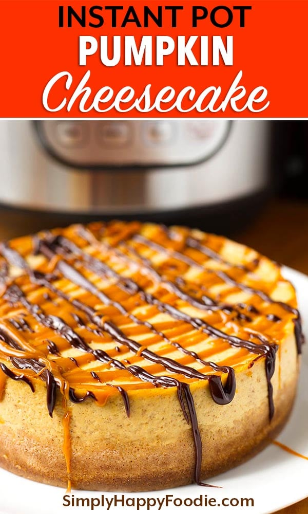 Instant Pot Pumpkin Cheesecake is creamy, and has just the right amount of pumpkin flavor. Accented with a little pumpkin spice, this is a tasty and well balanced pressure cooker pumpkin cheesecake! simplyhappyfoodie.com #pumpkinrecipes #instantpotrecipes #instantpotcheesecake #instantpotpumpkincheesecake #pressurecookerpumpkincheesecake instant pot cheesecake, pumpkin spice cheesecake