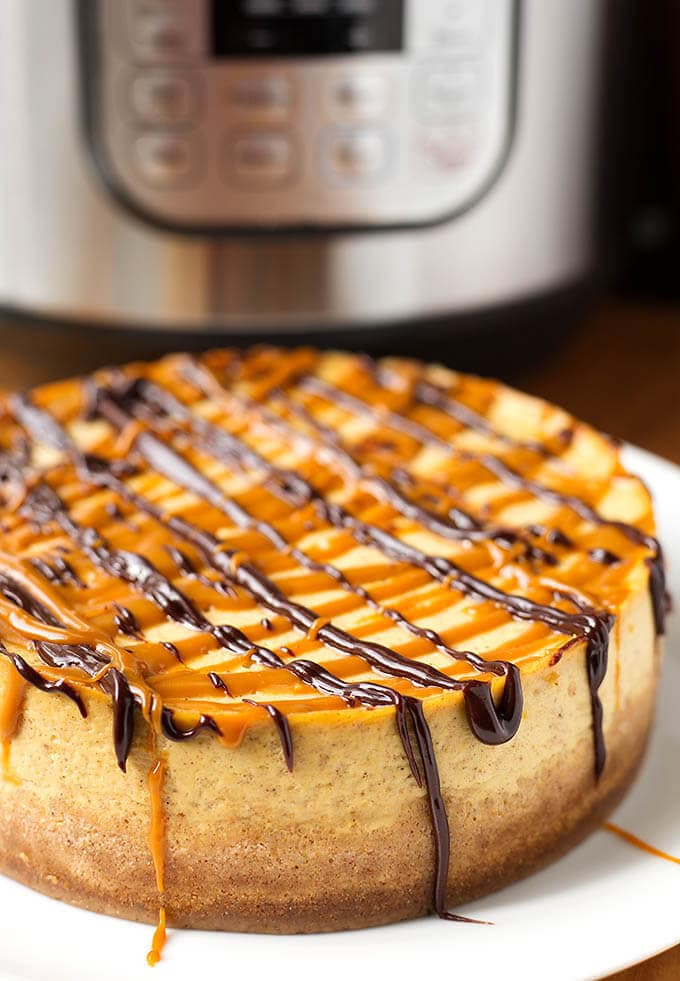 Pumpkin Cheesecake on a white plate in front of a pressure cooker