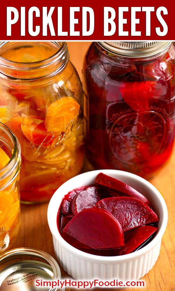 Make Easy Pickled Beets for the refrigerator or canning. Sweet and spicy! simplyhappyfoodie.com #pickledbeets #beets #easypickledbeets #pickledbeetsrecipe