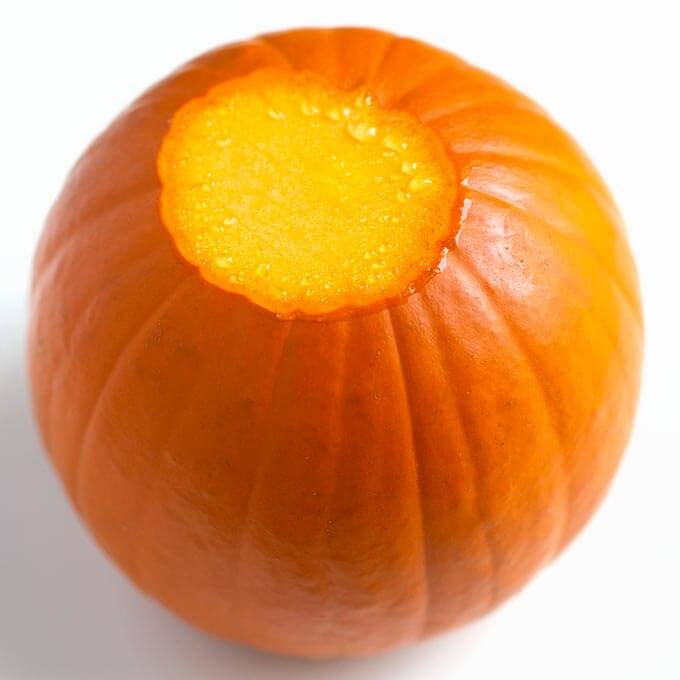 small pumpkin with stem top removed