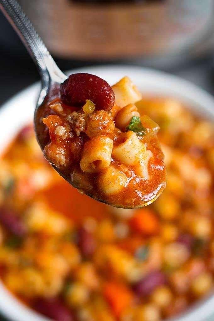 Pasta E Fagioli on a spoon close up