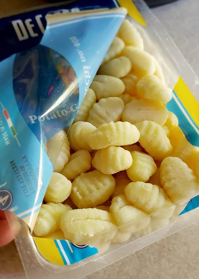 Open package of gnocchi