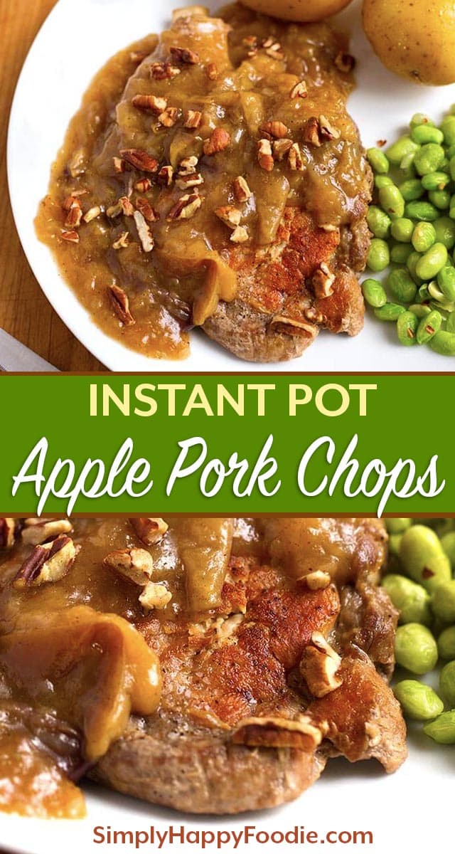 Instant Pot Autumn Apple Pork Chops are rich and warm tasting with just a hint of cinnamon and nutmeg. My family's absolute favorite pressure cooker pork chop recipe! simplyhappyfoodie.com #instantpotrecipes #instantpotporkchops #instapotporkchops #instapotrecipes