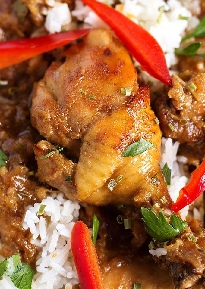 Instant Pot Chicken Adobo Filipino is a very delicious, amazingly flavorful dish. Serve over Jasmine rice for an excellent meal made in your Instant Pot! simplyhappyfoodie.com #chickenadobo #instantpotchickenadobo