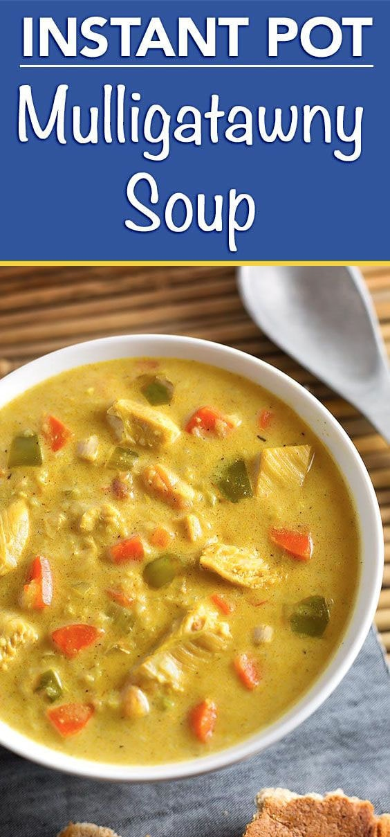 Instant Pot Mulligatawny Soup is a rich, warm, soup with a nice light Indian spice flavor. Make Mulligatawny in your electric pressure cooker! simplyhappyfoodie.com #instantpotrecipes #instantpot #instantpotsoup #mulligatawny #instantpotmulligatawny
