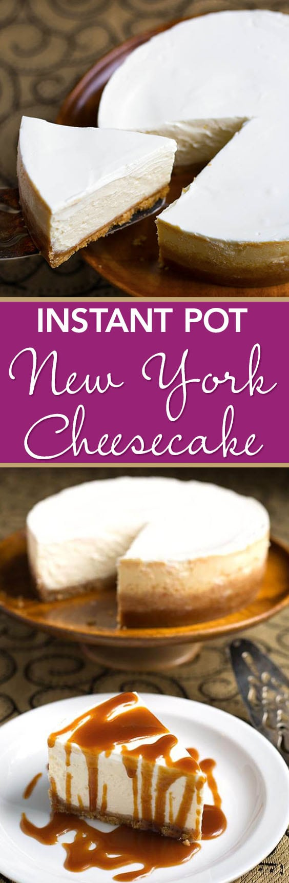 Instant Pot New York Cheesecake is the creamiest and most flavorful New York style cheesecake. Make this cheesecake in your electric pressure cooker! simplyhappyfoodie.com #instantpotrecipes #instantpotcheesecake #instantpotnewyorkcheesecake