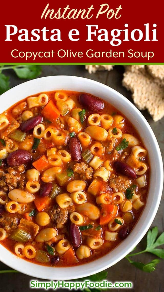 Instant Pot Pasta e Fagioli is a rustic, hearty Italian peasant soup. With sausage, beans, pasta, and tomato, this pressure cooker Pasta e Fagioli is a perfect Fall soup recipe. Olive Garden copycat soup. simplyhappyfoodie.com #pastaefagioli #instantpotpastaefagioli